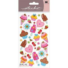 Scrapbooking Stickers Sticko Treats Ice Cream Cup Cakes Stars Hearts Glitter