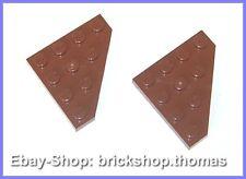 Lego 2 x Flügel 4x4 Platte braun - 30503  Wedge Plate Reddish Brown - NEU / NEW