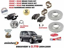 FOR LAND ROVER DISCOVERY 2.7 TD 2004> FRONT + REAR BRAKE DISCS + PADS + SHOE KIT
