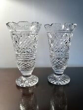"Pair Vintage 7"" Waterford Irish Crystal Georgian Master Cutter Footed Vases"