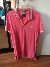 Superdry Mens Size L Pink Lined Short Sleeve Collar London Fit Polo Shirt