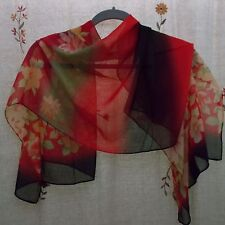 Floral Design, Oblong Scarf, with Red, Black, Camel, & Green