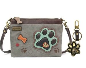 Chala Mini Crossbody Bag Pleather Converts PAW PRINT Stone Gray & Paw Key Chain