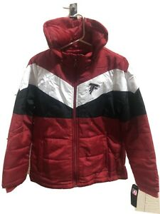 Atlanta Falcons Women's Medium Parka Jacket Nfl Football Red