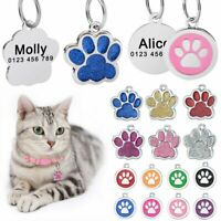 Paw Glitter Personalized Dog Tags Free Engraved Cat Pet Puppy Kitten Name Number