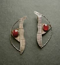 Vintage Sterling and Carnelian Modernist Hand Made Large Earrings Clips