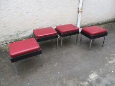 Anciens 1950/60 mobilier Strafor 4 tabourets bas de commerce assise skaï grena
