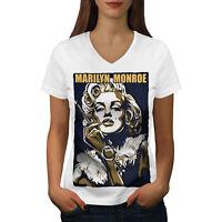 Wellcoda Celebrity Marilyn Art Womens V-Neck T-shirt, Urban Graphic Design Tee