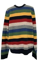 NEW, BROOKS BROTHERS MEN'S MULTI-COLOR WOOL CREWNECK SWEATER, L