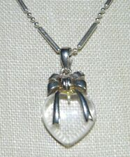 VTG .925 Sterling Silver Clear Lucite Heart Pendant Necklace Italy Made