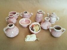 Tea Set Miniature Pottery Pink Marbled 10 Piece Doll House Dishes Kitchen Tiny