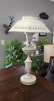 "Vintage Black & Grey Metal Toleware Table Lamp Milk Glass Torchiere Shade 23"""
