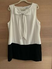 New Look Top Tunic Bow Size 18 Ivory Black