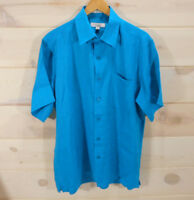 Visitor Men's Sz L Button Front Shirt 100% Linen Turquoise Blue Short Sleeve
