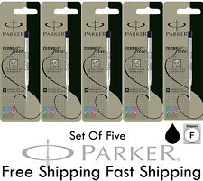 5 X Parker Quink Flow Ball Point Pen BP Refill Refills Black Ink Medium Nib New