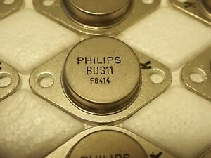 2 x Philips BUS11 NPN Si Power Transistor 400V 5A 100W TO3