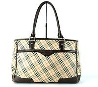 Auth BURBERRY Nova Check Nylon, Brown Leather Tote Semi Shoulder Hand Bag Purse