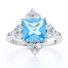 NEW Blue & White Topaz Ring - 14k White Gold Princess Cut Brilliant 3.00ctw