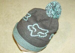 FOX Logo Beanie Hat One Size Gray/Blue Pom Pom