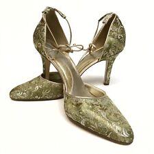 ✅❤️✅$ Gianni Bini Women's High Heel Floral Shoes 10M Scrappy Fabric Green Pumps