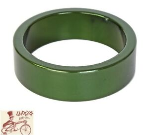 "ORIGIN8 ALLOY 10mm x 1-1/8""  ANODIZED GREEN BICYCLE HEADSET SPACERS--BAG OF 10"