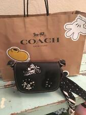 Disney X Coach Patricia Saddle 18 Glove Calf Leather Mickey Patches F59355  NWT