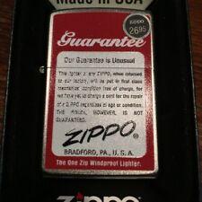 Zippo 205 Guarantee Unusual Vintage Advertisement Lighter