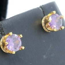 Sparkling Purple Amethyst Earrings Women Jewelry Gift 14K Yellow Gold Plated