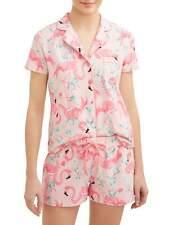 BNIP Ladies Sz L 16 Flamingo Pink Comfy Short Sleeve Capri Style Sleep PJ Set