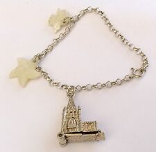 Very Sweet Girls Vintage Solid Silver Charm Bracelet - Mother Of Pearl - Church