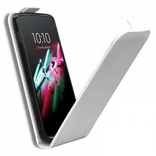 Coque Housse Alcatel OneTouch Idol 3 (5.5) Rabat Vertical Cuir Eco Gel Blanc