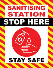 Sign Adhesive Sticker Stop Here Sanitising Station Sanitise Hands Notice Print
