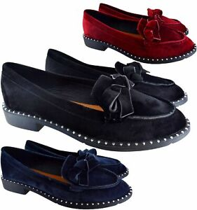 LADIES WOMENS FLAT BOW OFFICE STUDS PUMP SCHOOL LOAFERS BALLET PUMPS SHOES SIZE