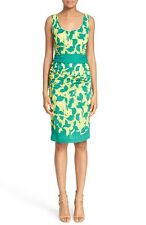 $297 TRACY REESE PRINT STRETCH SILK SHEATH DRESS SZ 10