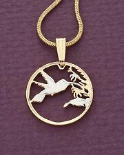 "Hummingbird Pendant , Trinidad One cent Hand Cut, 5/8""diameter, ( # 298 )"