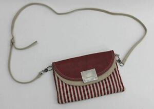 FIORELLI Ladies Red Beige Striped Leather/Fabric Crossbody Shoulder Bag Handbag