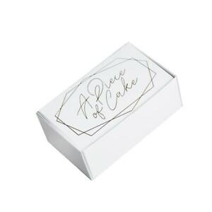 Wedding Party Favours Cake Slice Box White Gold Embossed Piece of Cake 100x40x60