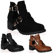 Scarpe da donna blocchetti stivali alla caviglia con fibbia