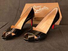 New Christian Louboutin Shelley $795 Black patent leather crisscross pumps-sz 37