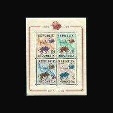 Indonesia, Sc #65b, Perf, RIS Djakarta, MNH, 1949, S/S, UPU Centenary, FAUNA