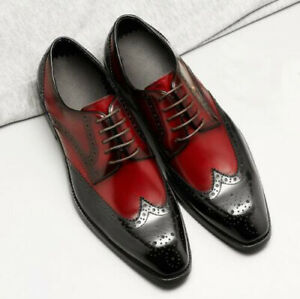 Handmade Mens Two tone wing tip brogue dress shoes, Men formal leather shoes