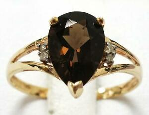 SYJEWELLERY 9CT YELLOW GOLD PEAR NATURAL SMOKY TOPAZ & DIAMOND RING SIZE N R1278