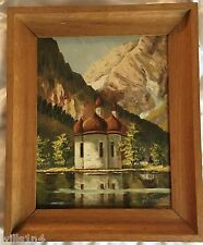1947 framed oil on Board of Greek orthodox church on lake nestled in the Alps