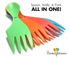 Cooks Drawer Reusable Sporks 4 Pack Multi Color, Dining Camping Flatware Cutlery