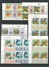 SAMOA 1972-75 SEA LIFE FISH SHELLS (Sc 369-78c COMPLETE SET) VF MNH blks of 4