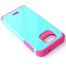 Kyocera Hydro Wave / Air - HARD TPU GUMMY RUBBER HYBRID CASE TURQUOISE BLUE PINK