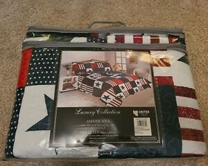 Americana Reversible Patriotic Stars and Stripes Quilt (4 piece) Queen Size NEW