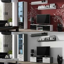 SOHO 7 FURNITURE SET TV STAND DISPLAY CABINET WALL SHELF LED GLOSSY FRONTS