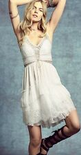 Free People Lace Up Babydoll  Open Back Tiered Mini Dress in Ivory Sz M 6