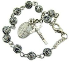 Womens Antique Silver 6MM Rosebud Bead Rosary Bracelet w Miraculous Mary Charm